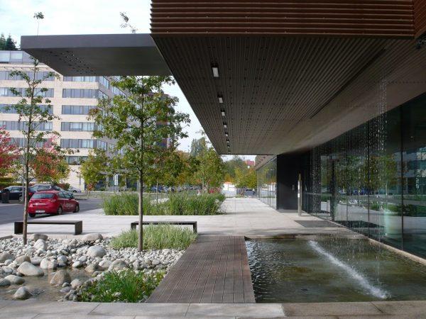1. Parter před budovou Delta II – retenční nádrž s výsadbou stromů
